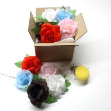 Bulk Pack of 10 Fabric Roses in Mixed Colours